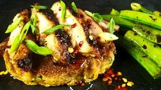 Corn Cakes with Grilled YUMMM Chicken and Charred Romano Beans Recipe | The Chew - ABC.com I think i would leave off the honey and do the chili flakes in olive oil or butter. Honey spikes blood sugar.