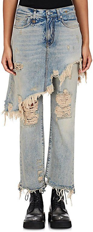 Layering ragged jeans with a ragged skirt. All you need now is a ragged shirt to complete this look.