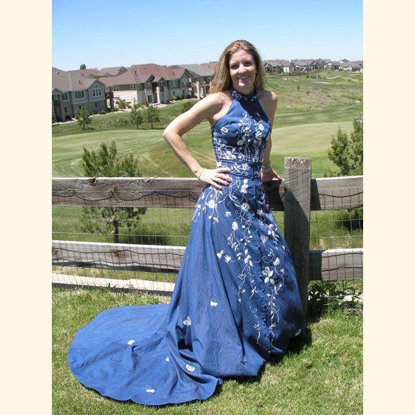 17 best images about denim wedding dress on pinterest for Western denim wedding dresses