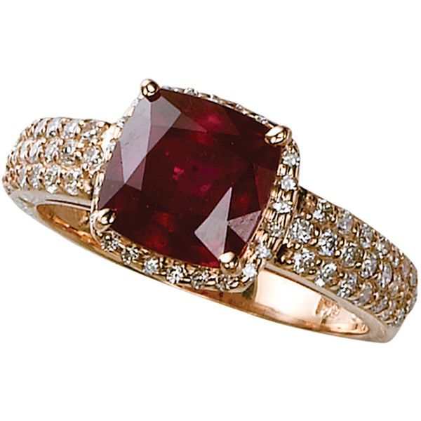 Effy Collection 14 Kt. Rose Gold Ruby & Diamond Ring ($1,675) ❤ liked on Polyvore