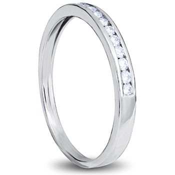 18ct white gold ladies wedding band with channel set diamonds