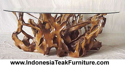 Teak Root Table With Glass Top Furniture From Indonesia