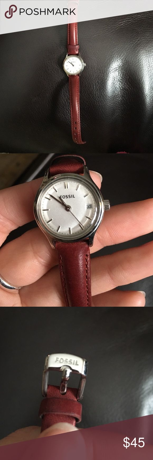 Women's Fossil watch Fossil watch in deep red color. Never worn - like new condition. Has a leather band with adjustable holes to fit any size wrist. Fossil Accessories Watches