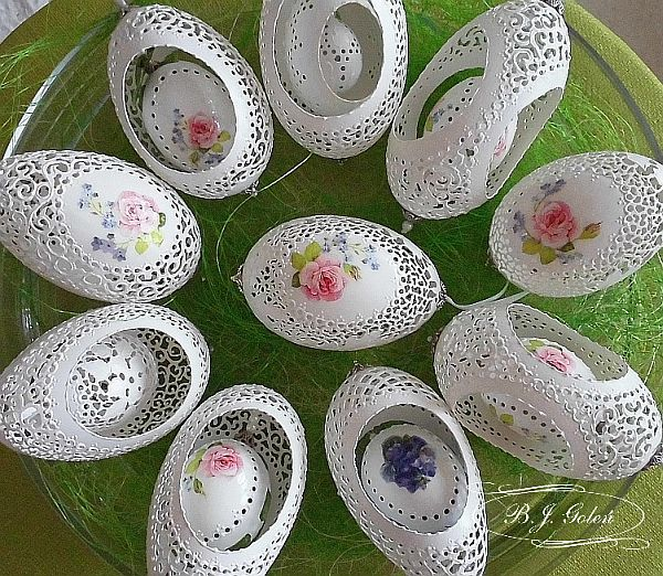 gęsie kurze przepiórcze skorupki goose egg shells made by Bogusława Justyna Goleń Ażurowe Pisanki