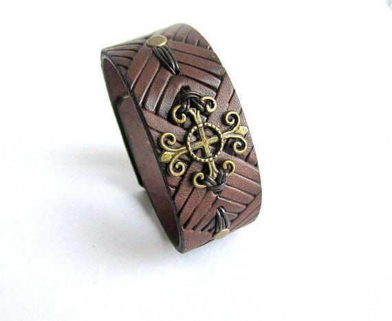 Mens brown leather bracelet mens cross bracelet mens leather