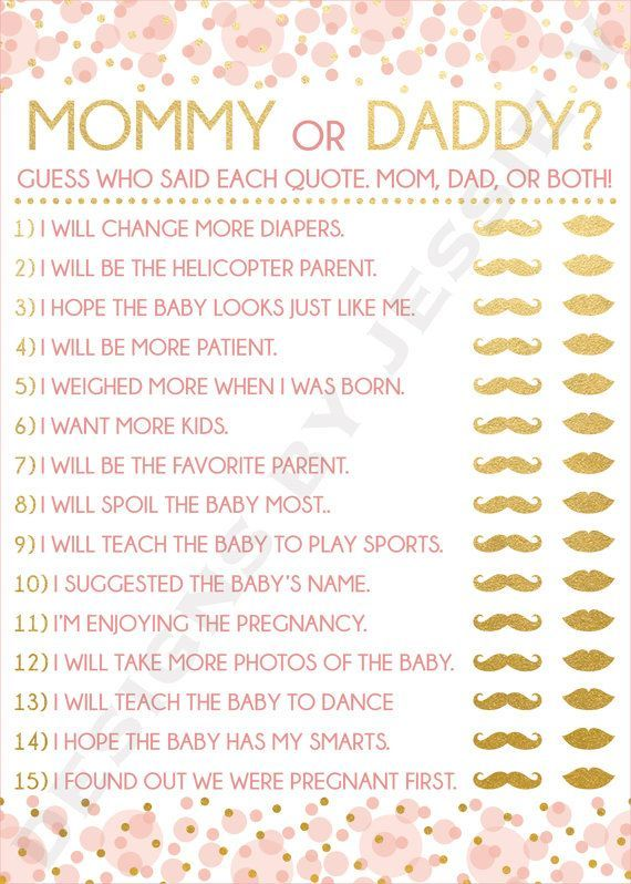 Mommy or Daddy? Can you guess who said each quote? This printable baby shower game would be a fun addition to the party you are planning! Each game is 5x7 and can be printed out professionally or from home. To view the coordinating Baby Shower items, click this link: https://www.etsy.com/shop/DesignsByJessieV/search?search_query=017 Once you have purchased the listing, your files will be available for download through the Purchases and Reviews section of your Etsy account. You will receive…