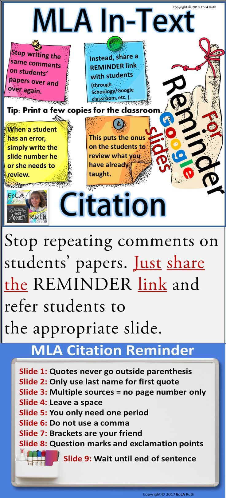 Mla In Text Citation Reminder For Google Slides Teacher Help Writing Units Mla Citation