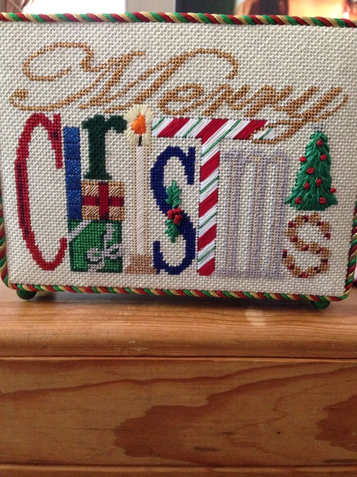 needlepoint Merry Christmas, probably Associated Talents canvas