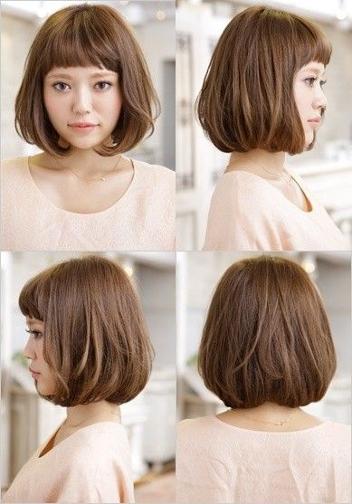 Bob Haircut with Blunt Bangs - Japanese Short Hairstyles