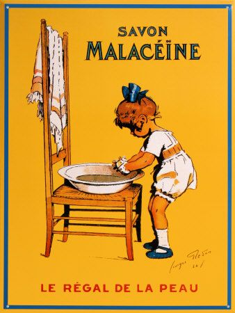 vintage or antique soap ad, Savon Malaceine, little girl with washbowl