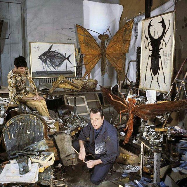 Annabel and Bernard Buffet, in his studio 1963. #bernardbuffet