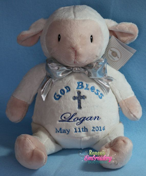 235 best baby cubbies images on pinterest cubbies cubicles and personalized baby baptismal gift embroidered soft plush baptism lamb custom made by renees embroidery negle Gallery