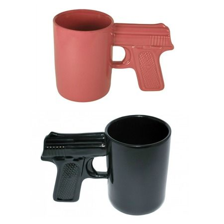 "For the ""shot"" of coffee you need everyday! Gun Handle mug in black or pink."