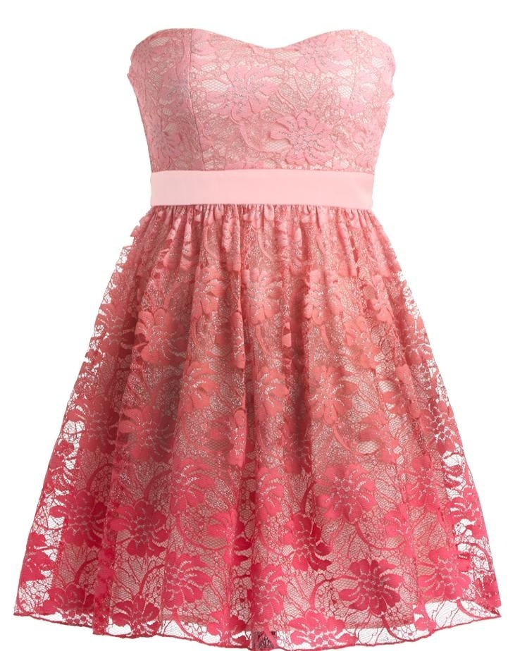 Gradient Sherbet Dress: Features a gorgeous sweetheart neckline with padded bust for full support, nipped and neat empire waistband, gradient rose lace shell with subtle silver sparkle throughout, and a twirl-worthy A-line skirt to finish.