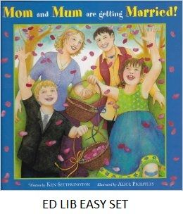 """Mom and Mum Are Getting Married! - by Ken Setterington, illustrated by Alice Priestley. When Mom announces, """"Your Mum and I are getting married!"""" they can't wait to start planning the big day. Rosie has so many questions. Will she get to be a flower girl? Can she get a new dress? Will there be food and a fabulous wedding cake? At this party, family, friends and fun come together for a joyous celebration of love in a changing world."""