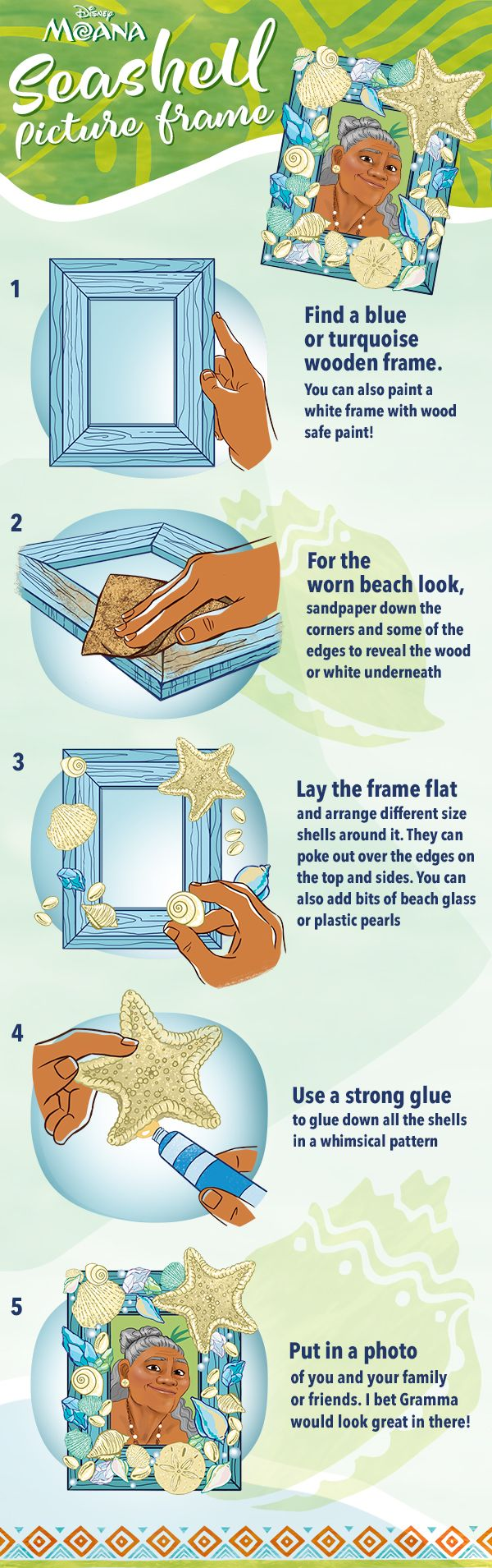 Grab the kiddos and brighten up your home with this DIY Moana Seashell Picture Frame.  Bring Moana home to your family today on Digital and Blu-ray Mar 7.