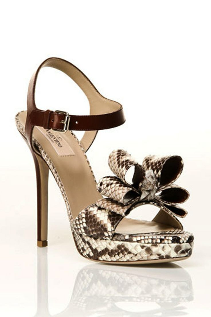Valentino Snake Embossed Sandals in Stone