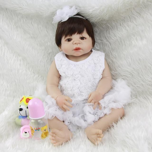 23 Inch Princess Girl Baby Doll Lifelike Full Silicone Vinyl Reborn Dolls With White Dress Suit Real Touch Babies Toy For Sale