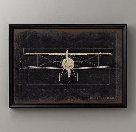Restoration Hardware model g airplane blueprint (1 of 3) For sons room