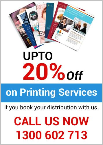 "Get up to 20% off on #PrintingServicesinSydney from ""Letterbox Distribution Sydney"" that can give you high quality #printingservices, also we have varies customizing #printingsolution  for magazines, #pamphlets, #flyers or any other material with the right quality of paper. Call now our #printingservices at 1300 602 713."
