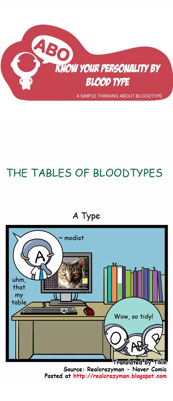 Blood Types Comic: The tables of blood types.. type A