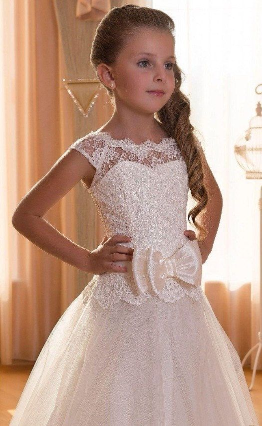 Encargo de Vintage encaje satén tul flor chica vestido primera