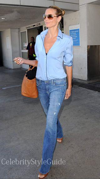 Heidi Klum wearing GENETIC Jeans Leaf Flare in Slash is seen at the LAX Airport August 15, 2014 (Photo: AKM-GSI)