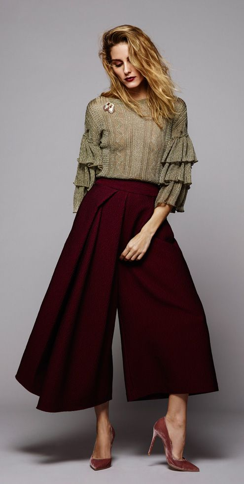 Color scheme- the ruffles, those pants - and the velvet pumps! Everything...Olivia Palermo Holiday - Guest Bartender | BaubleBar