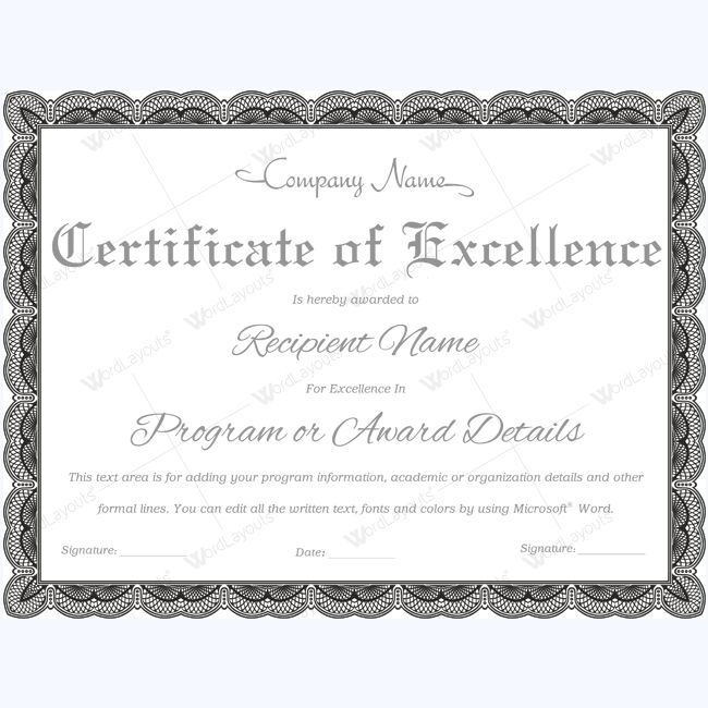 Typical Certificate Of Excellence #excellence #certificatetemplate  #excellencetemplate #excellencetemplate #excellencewordtemplate  Certificates Of Excellence Templates