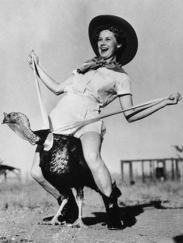 Dottie Richardson riding a turkey for Thanksgiving in 1938. Photograph by Gamma-Keystone/Getty Images