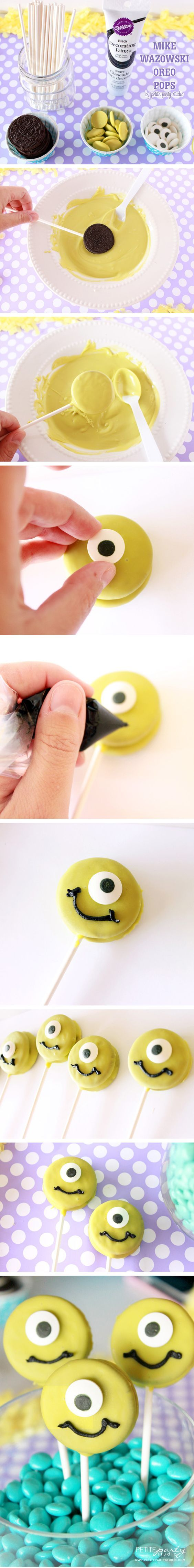 13 Treats Inspired By Your Favorite Disney Movies | http://www.hercampus.com/health/food/13-treats-inspired-your-favorite-disney-movies | Mike Wazowski Monsters Inc Monsters University Oreo Pops Cookies