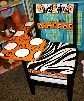 i need to do this to Derik's old school chair! and put Joaquin at the top! Too cute!