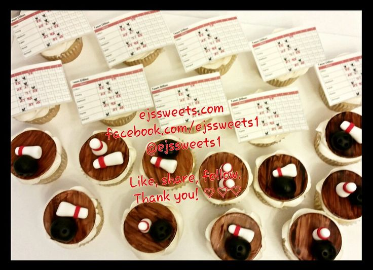 Custom dairy free cupcakes, no milk, no eggs, but all taste! Frosted with dairy free butter cream frosting, topped with custom bowling themed fondant toppers, including custom scorecards.  #oscars #oscarssunday #ejssweets1 #ejssweets #dairyfree #nomilk #noeggs #customcupcakes #dairyfreefrosting #bowlingcake #bowlingcupcakes