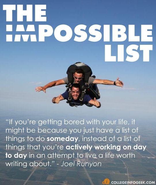 Track your goals - college, travel, fitness, skills, etc - with an Impossible List rather than a simple bucket list.