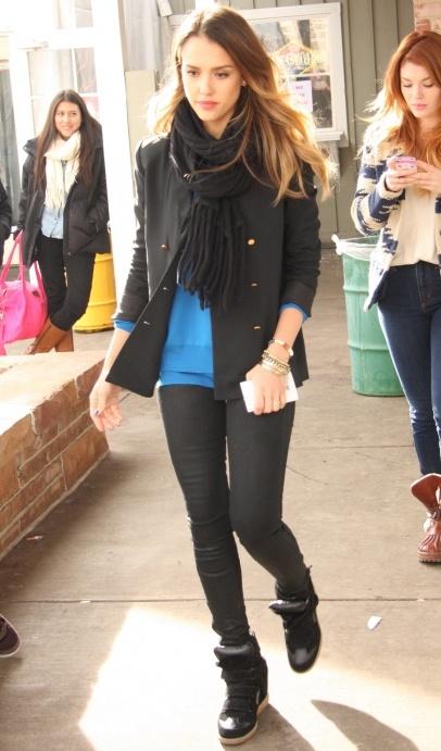 Jessica Alba and Adam Scott walk around on Main St in Park City, Utah for 2013 Sundance Film Festival.