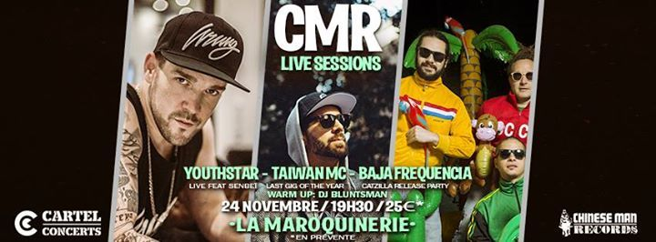 Rendez vous le Vendredi 24 Nov. 19h30 @ La Maroquinerie pour une CMR Live Sessions qui s'annonce épique !! > Taiwan Mc Live feat. Son Of A Pitch aka SOAP > Youthstar - Chinese Man Records Live feat. Senbeï & guests > Baja Frequencia - Chinese Man Records Live préventes : http://ift.tt/2iYylPF evnmt FB : http://ift.tt/2zOeYka