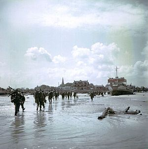Canadian soldiers landing at Juno Beach, part of Operation Overland, the invasion of Normandy, known as D-day
