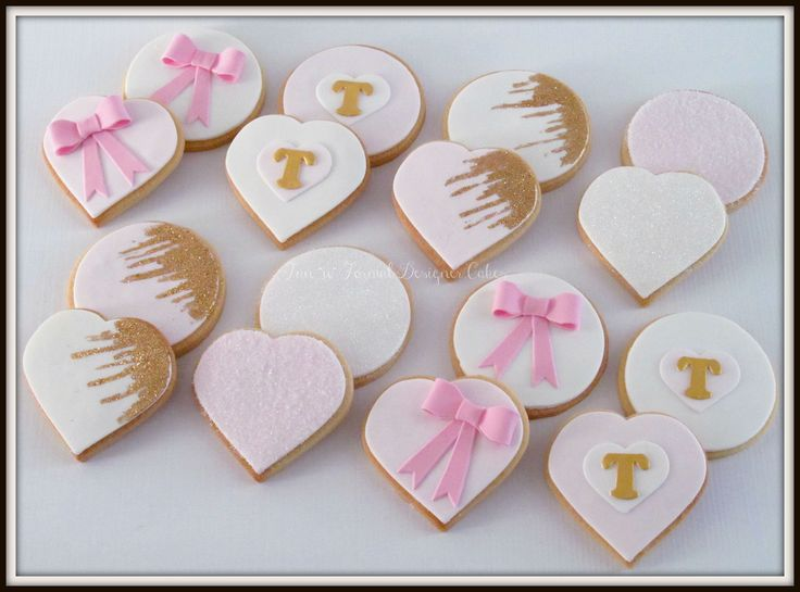 Pink and gold sugar cookies.