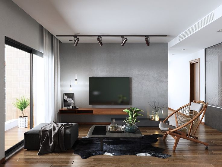 Simplistic living room cane feature pod chair black TV black cow hide rug