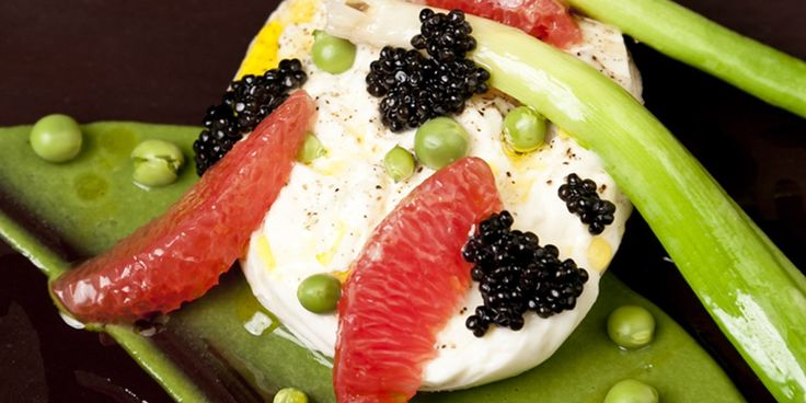 #Burrata #pea #grapefruit #caviar and leek salad by Marcus Wareing