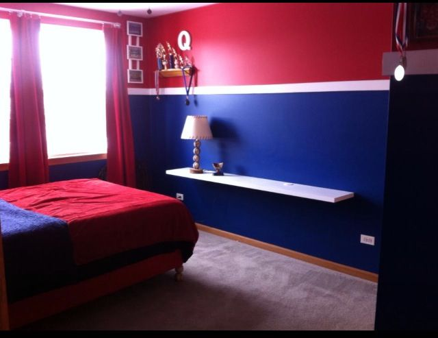 Chicago Cubs Themed Bedroom Suspended Shelf Made From Hollow Core Door Projects Pinterest Room And