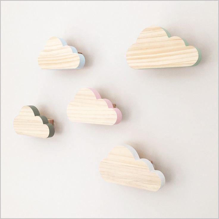Wall Hook  .  Wooden Cloud / 5 Colours
