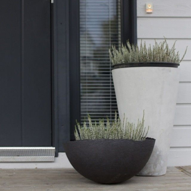 charcoal grey and chalk white. like the raw edge of the black planter