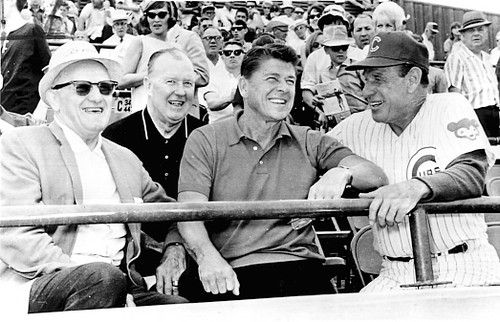 A spring training game in March of 1967 between the Cubs and Cleveland Indians brought out, from left, Bears coach and owner George Halas, Cubs play-by-play man Jack Brickhouse, then California governor Ronald Reagan and Cubs manager Leo Durocher.