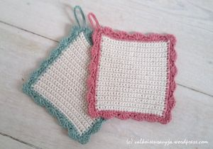 Crocheted pot holders for play kitchen.