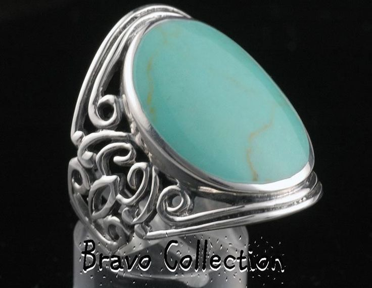 SIZE 8 Hallmark 925 Solid Sterling Silver Unique Turquoise Women Ring ST-199