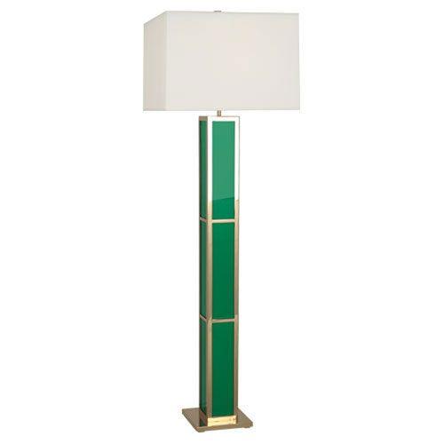 Jonathan Adler Barcelona Green and Polished Brass One-Light Floor Lamp
