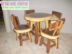 kursi meja makan natural kayu trembesi