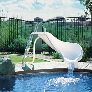 The Zoomerang Pool Slide has a twist at the end that sends you hurling into the water. A small, but fun slide for kids searching excitement in the pool. http://www.intheswim.com/Pool-Accessories/Pool-Slides-for-In-Ground-Pools/ZoomerangTM-Pool-Slide/#