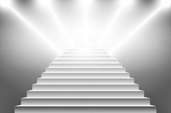 vector illustration of white stairs by Rommeo79 on @creativemarket